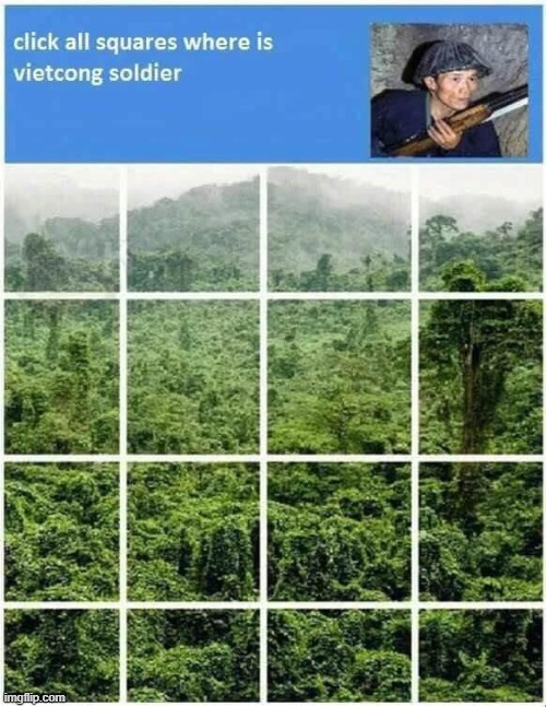 Boys hidding | image tagged in select all squares with vietcong soldier,vietnam,viet cong,boys vs girls,hidding | made w/ Imgflip meme maker