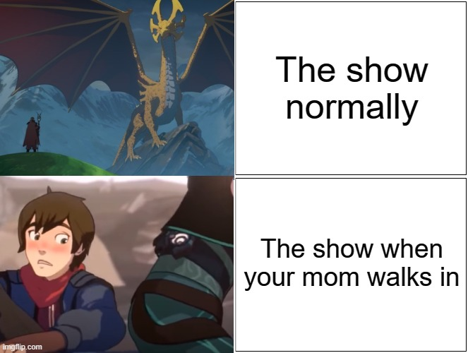 Blank Comic Panel 2x2 |  The show normally; The show when your mom walks in | image tagged in memes,blank comic panel 2x2 | made w/ Imgflip meme maker