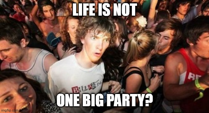 Whaaaaaaaat! |  LIFE IS NOT; ONE BIG PARTY? | image tagged in memes,sudden clarity clarence | made w/ Imgflip meme maker
