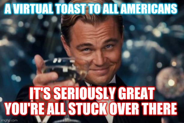 Pariah |  A VIRTUAL TOAST TO ALL AMERICANS; IT'S SERIOUSLY GREAT YOU'RE ALL STUCK OVER THERE | image tagged in memes,leonardo dicaprio cheers | made w/ Imgflip meme maker