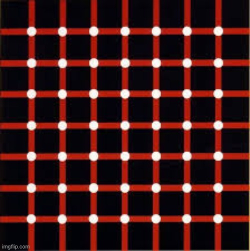 TRY TO FIND THE BLACK DOT | image tagged in eye tricks,illusions,dots | made w/ Imgflip meme maker