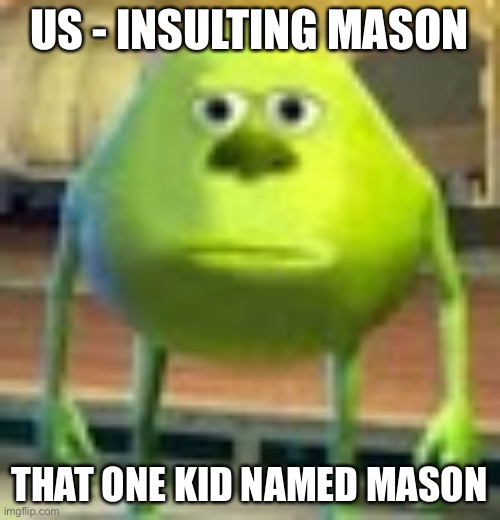 Sully Wazowski |  US - INSULTING MASON; THAT ONE KID NAMED MASON | image tagged in sully wazowski | made w/ Imgflip meme maker