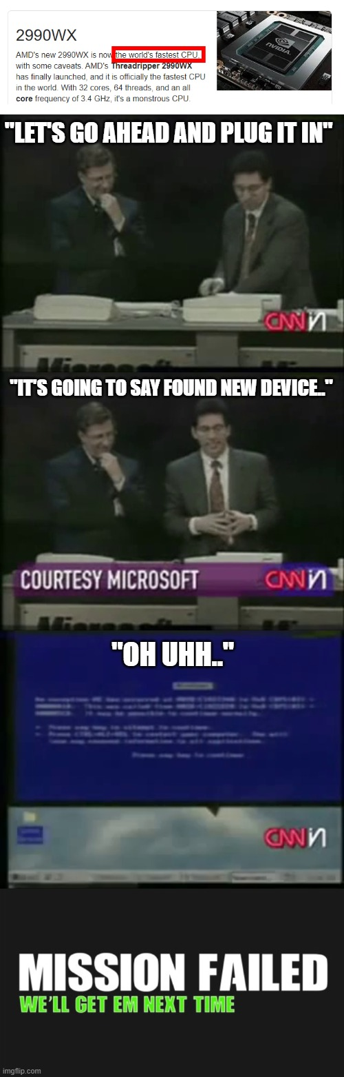 "Fastest Blue Screen on Earth! |  ""LET'S GO AHEAD AND PLUG IT IN""; ""IT'S GOING TO SAY FOUND NEW DEVICE..""; ""OH UHH.."" 