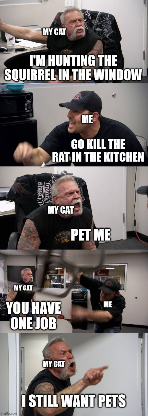 Cat logic |  MY CAT; I'M HUNTING THE SQUIRREL IN THE WINDOW; ME; GO KILL THE RAT IN THE KITCHEN; MY CAT; PET ME; MY CAT; YOU HAVE ONE JOB; ME; MY CAT; I STILL WANT PETS | image tagged in memes,american chopper argument,cats,stupid,hunting | made w/ Imgflip meme maker