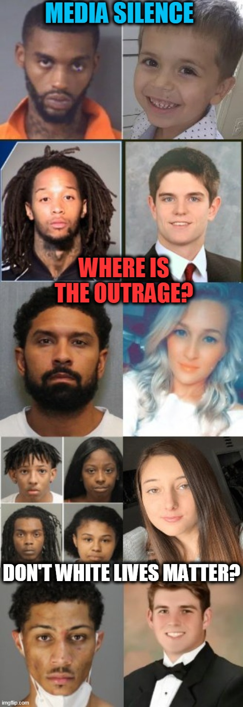 Inconvenient Truth Ignored By BLM Biased Media |  MEDIA SILENCE; WHERE IS THE OUTRAGE? DON'T WHITE LIVES MATTER? | image tagged in politics,political meme,blm,all lives matter,biased media,media lies | made w/ Imgflip meme maker