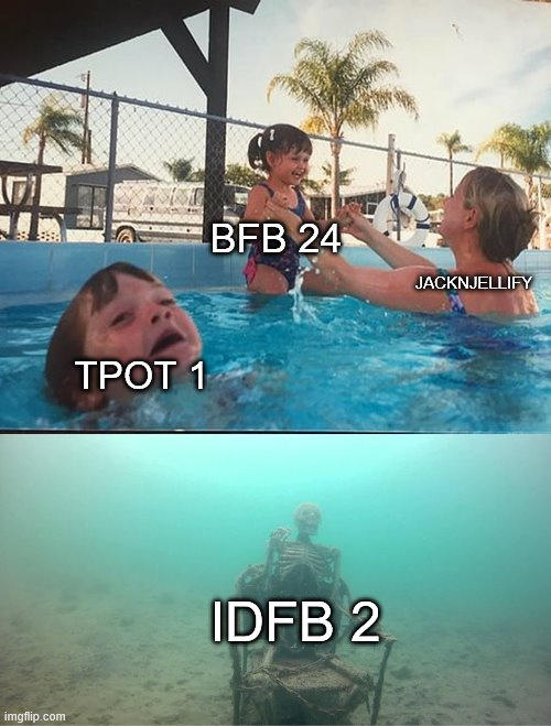 Mother Ignoring Kid Drowning In A Pool |  BFB 24; JACKNJELLIFY; TPOT 1; IDFB 2 | image tagged in mother ignoring kid drowning in a pool,bfb,bfdi,tpot | made w/ Imgflip meme maker