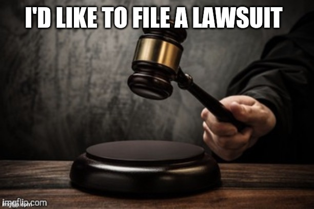 Court |  I'D LIKE TO FILE A LAWSUIT | image tagged in court | made w/ Imgflip meme maker