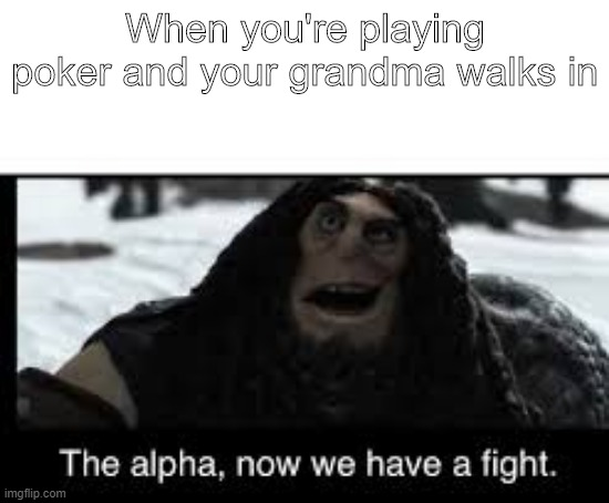 Insert Name Here |  When you're playing poker and your grandma walks in | image tagged in memes | made w/ Imgflip meme maker