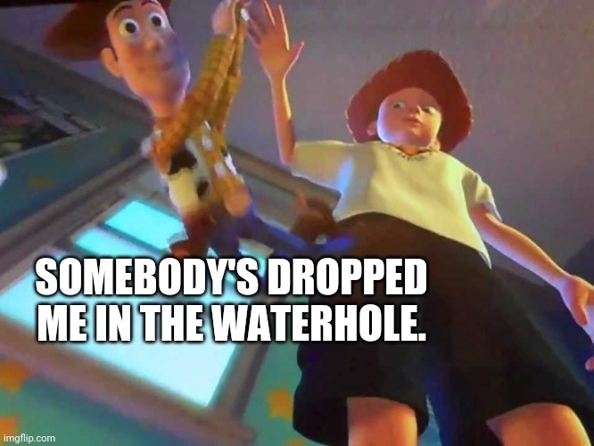 ANDY DROPPING WOODY |  SOMEBODY'S DROPPED ME IN THE WATERHOLE. | image tagged in andy dropping woody | made w/ Imgflip meme maker