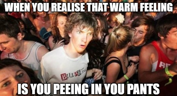 Yeah, I really thought I had to go but I wanted to finish this beer |  WHEN YOU REALISE THAT WARM FEELING; IS YOU PEEING IN YOU PANTS | image tagged in memes,sudden clarity clarence,fun,funny,2020,funny memes | made w/ Imgflip meme maker