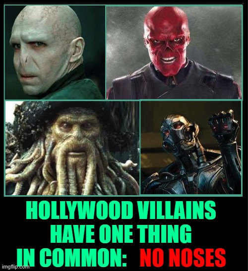 Some Villains are so evil they'll bite off their own nose just to spite their face |  HOLLYWOOD VILLAINS HAVE ONE THING IN COMMON:   NO NOSES; NO NOSES | image tagged in vince vance,hollywood,villains,pirates of the caribbean,noses,memes | made w/ Imgflip meme maker