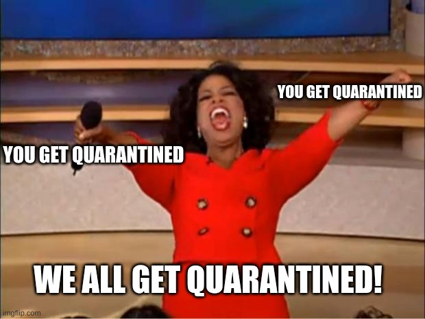 Oprah You Get A |  YOU GET QUARANTINED; YOU GET QUARANTINED; WE ALL GET QUARANTINED! | image tagged in memes,oprah you get a | made w/ Imgflip meme maker