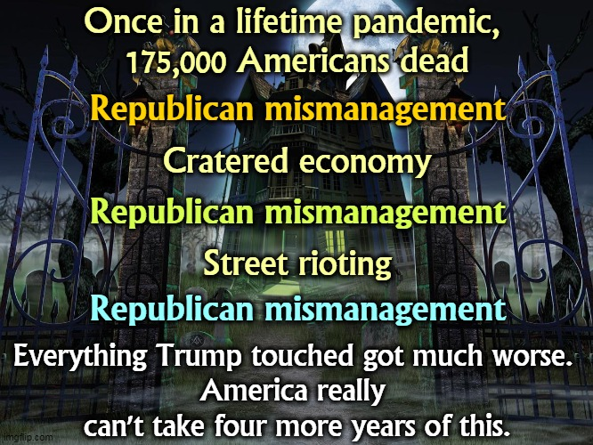 The Republicans were in charge. They can't blame anybody but themselves for their uncoordinated mismanagement. |  Once in a lifetime pandemic,  175,000 Americans dead; Republican mismanagement; Cratered economy; Republican mismanagement; Street rioting; Republican mismanagement; Everything Trump touched got much worse.  America really  can't take four more years of this. | image tagged in trump,gop,republicans,clumsy,stupid,incompetence | made w/ Imgflip meme maker