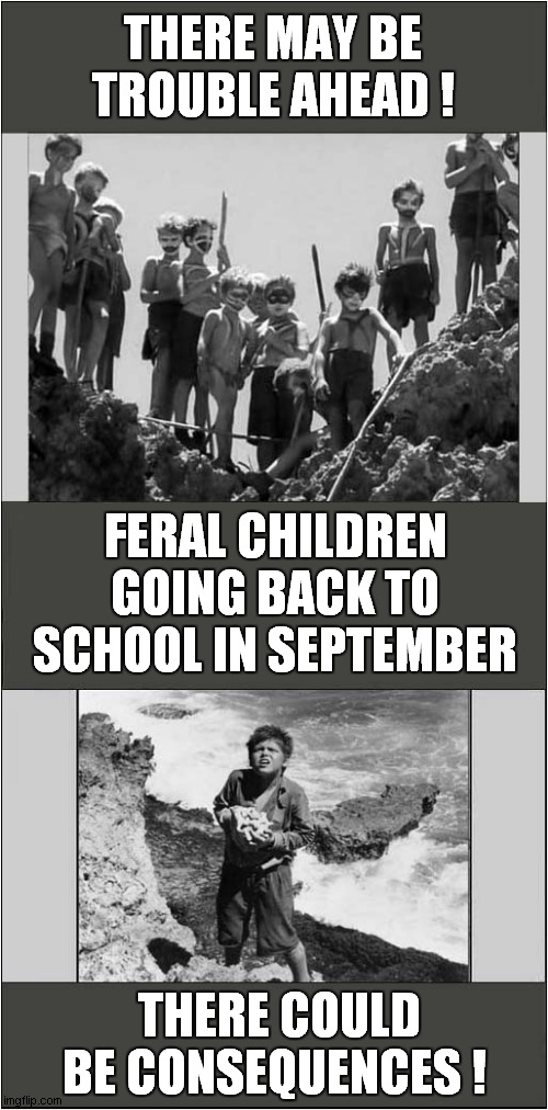 Back to School For The Lord Of The Flies |  THERE MAY BE TROUBLE AHEAD ! FERAL CHILDREN GOING BACK TO SCHOOL IN SEPTEMBER; THERE COULD BE CONSEQUENCES ! | image tagged in fun,lord of the flies,back to school | made w/ Imgflip meme maker