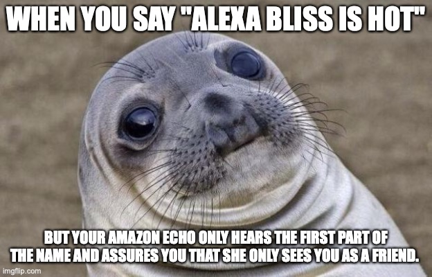 "Awkward Moment Sealion |  WHEN YOU SAY ""ALEXA BLISS IS HOT""; BUT YOUR AMAZON ECHO ONLY HEARS THE FIRST PART OF THE NAME AND ASSURES YOU THAT SHE ONLY SEES YOU AS A FRIEND. 