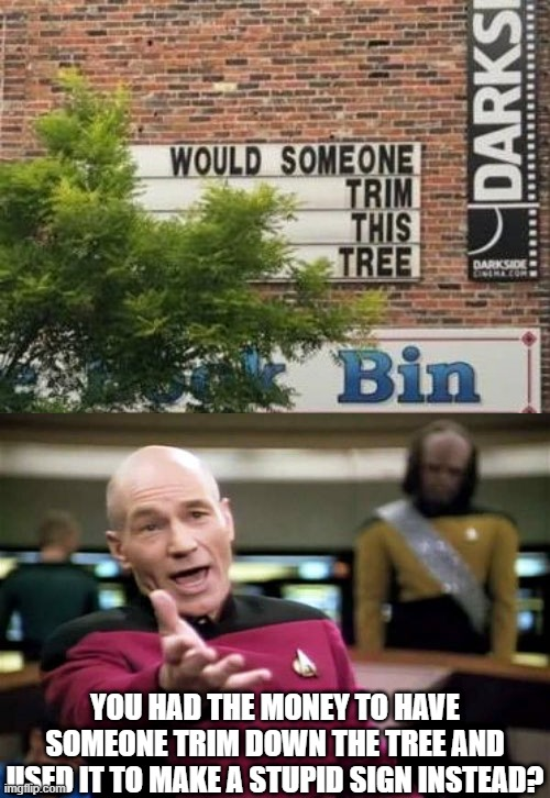 really? |  YOU HAD THE MONEY TO HAVE SOMEONE TRIM DOWN THE TREE AND USED IT TO MAKE A STUPID SIGN INSTEAD? | image tagged in memes,picard wtf,funny,stupid signs,trees,building | made w/ Imgflip meme maker