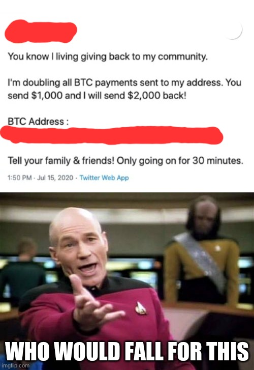 who the hell would fall for this |  WHO WOULD FALL FOR THIS | image tagged in memes,picard wtf,internet scam,random shit | made w/ Imgflip meme maker