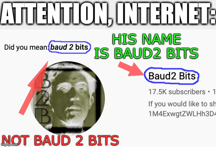 Let's Get Some Positive SEO Going |  ATTENTION, INTERNET:; HIS NAME IS BAUD2 BITS; NOT BAUD 2 BITS | image tagged in memes,searching computer,youtuber,not amused | made w/ Imgflip meme maker