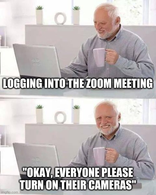"The pain of zoom cameras |  LOGGING INTO THE ZOOM MEETING; ""OKAY, EVERYONE PLEASE TURN ON THEIR CAMERAS"" 