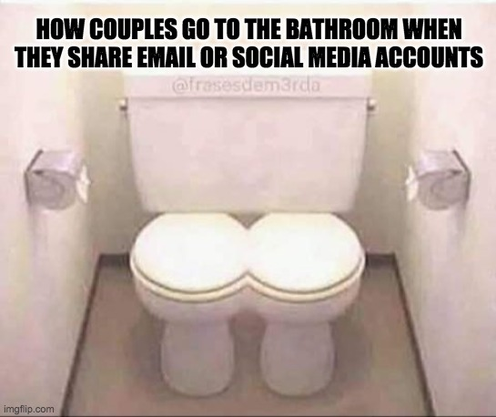 How couples who share social media accounts go to the bathroom |  HOW COUPLES GO TO THE BATHROOM WHEN THEY SHARE EMAIL OR SOCIAL MEDIA ACCOUNTS | image tagged in joint combined toilet for married couples | made w/ Imgflip meme maker