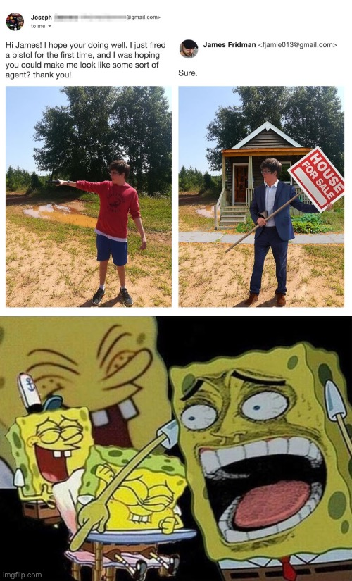 I love James Fridman | image tagged in spongebob laughing hysterically | made w/ Imgflip meme maker