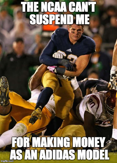 Photogenic College Football Player Meme | THE NCAA CAN'T SUSPEND ME FOR MAKING MONEY AS AN ADIDAS MODEL | image tagged in memes,photogenic college football player | made w/ Imgflip meme maker