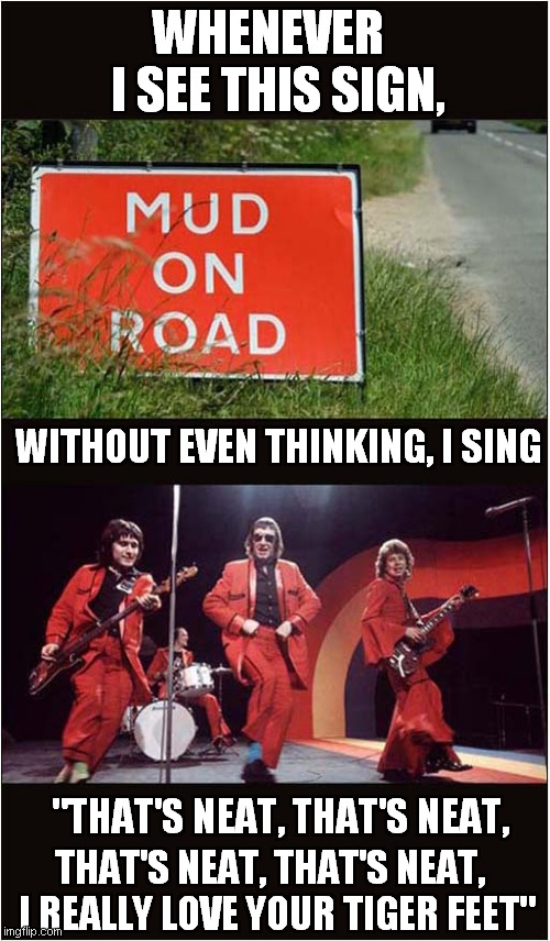 "Mud On Road Sing-a-Long |  WHENEVER   I SEE THIS SIGN, WITHOUT EVEN THINKING, I SING; ""THAT'S NEAT, THAT'S NEAT, THAT'S NEAT, THAT'S NEAT, I REALLY LOVE YOUR TIGER FEET"" 