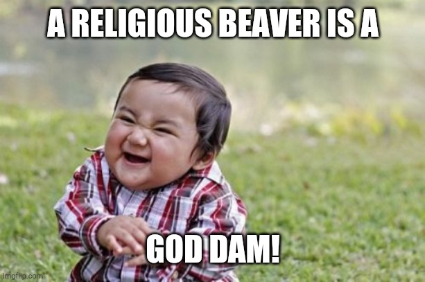 Evil Toddler |  A RELIGIOUS BEAVER IS A; GOD DAM! | image tagged in memes,evil toddler | made w/ Imgflip meme maker