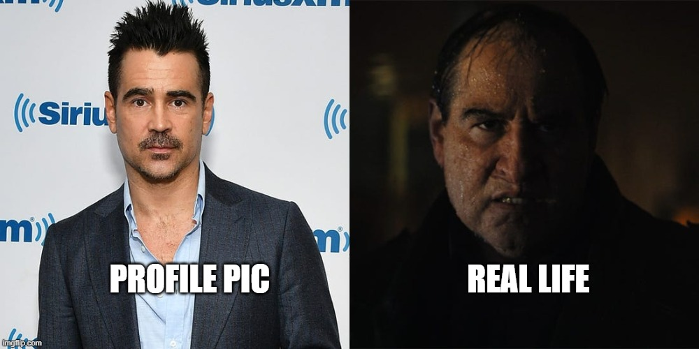 Penguin Profile Pic |  PROFILE PIC                                REAL LIFE | image tagged in dc comics,the batman,the penguin,penguin | made w/ Imgflip meme maker