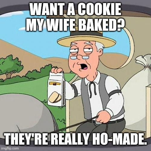 Pepperidge Farm Remembers |  WANT A COOKIE MY WIFE BAKED? THEY'RE REALLY HO-MADE. | image tagged in memes,pepperidge farm remembers | made w/ Imgflip meme maker