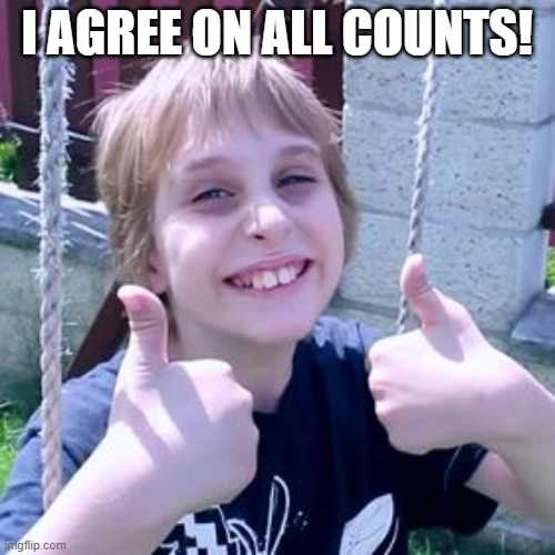 Misha agrees! | I AGREE ON ALL COUNTS! | image tagged in misha agrees | made w/ Imgflip meme maker