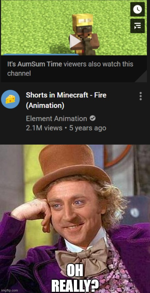 why do people who watch aumsum also watch Element Animation?? |  OH REALLY? | image tagged in memes,creepy condescending wonka,youtube | made w/ Imgflip meme maker