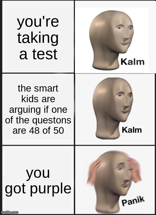 during a test |  you're taking a test; the smart kids are arguing if one of the questons are 48 of 50; you got purple | image tagged in memes,panik kalm panik | made w/ Imgflip meme maker