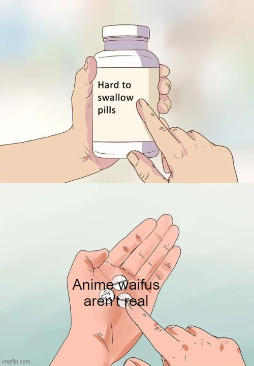 this is ust dumb |  Anime waifus aren't real | image tagged in memes,hard to swallow pills | made w/ Imgflip meme maker