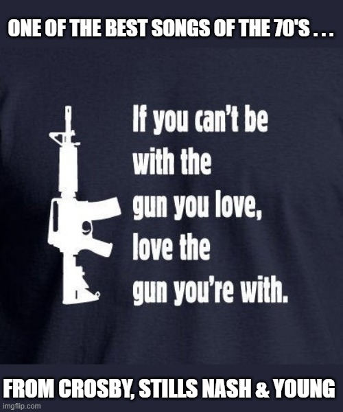 Love the gun you're with |  ONE OF THE BEST SONGS OF THE 70'S . . . FROM CROSBY, STILLS NASH & YOUNG | image tagged in political meme,gun control,gun ban,gun laws,gun rights,crosby stills nash young | made w/ Imgflip meme maker