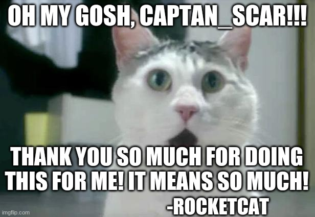 Thanks! I almost cried when I saw this! |  OH MY GOSH, CAPTAN_SCAR!!! THANK YOU SO MUCH FOR DOING THIS FOR ME! IT MEANS SO MUCH! -ROCKETCAT | image tagged in memes,omg cat | made w/ Imgflip meme maker