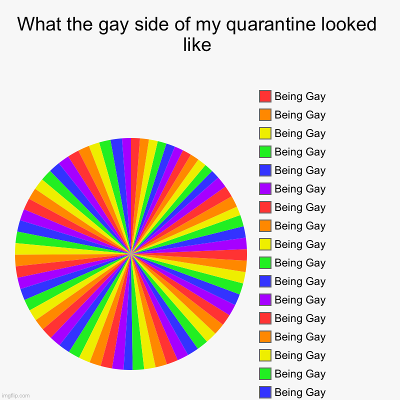 What the gay side of my quarantine looked like |, Being Gay, Being Gay , Being Gay , Being Gay , Being Gay , Being Gay , Being Gay , Being G | image tagged in charts,pie charts | made w/ Imgflip chart maker