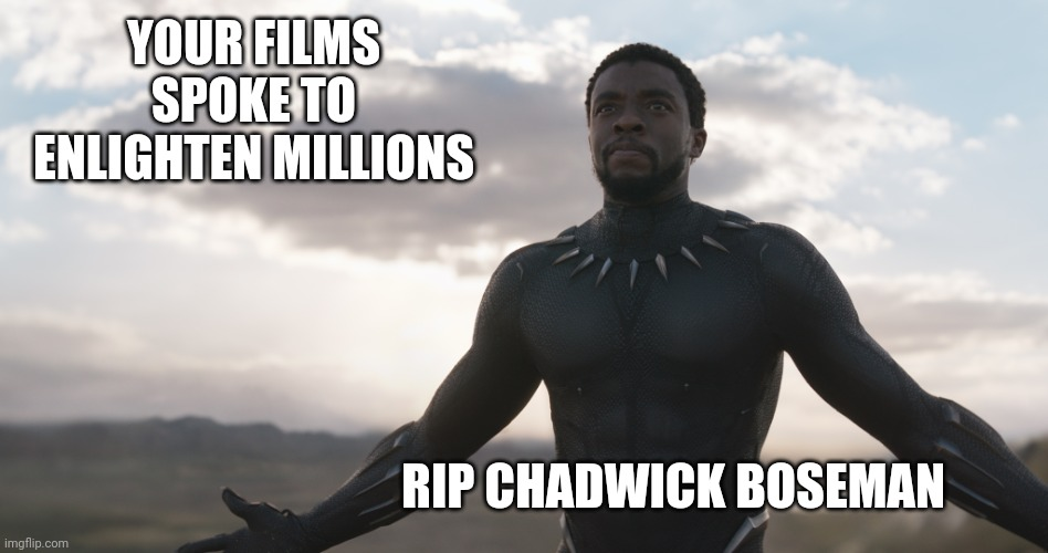 Heaven's Newest Warrior |  YOUR FILMS SPOKE TO ENLIGHTEN MILLIONS; RIP CHADWICK BOSEMAN | image tagged in black panther,marvel,blm,black lives matter,politics,superheroes | made w/ Imgflip meme maker