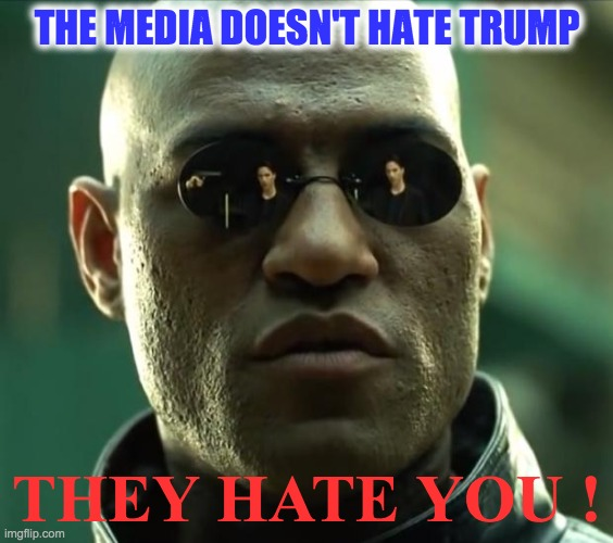 Morpheus  |  THE MEDIA DOESN'T HATE TRUMP; THEY HATE YOU ! | image tagged in morpheus | made w/ Imgflip meme maker