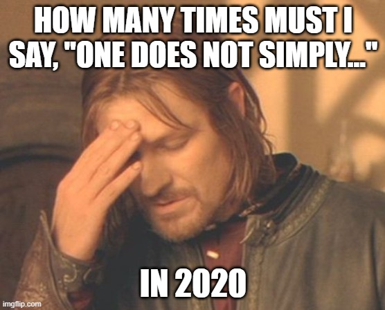 "Frustrated Boromir |  HOW MANY TIMES MUST I SAY, ""ONE DOES NOT SIMPLY...""; IN 2020 