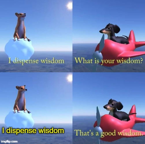 worst wisdom |  I dispense wisdom | image tagged in wisdom dog | made w/ Imgflip meme maker