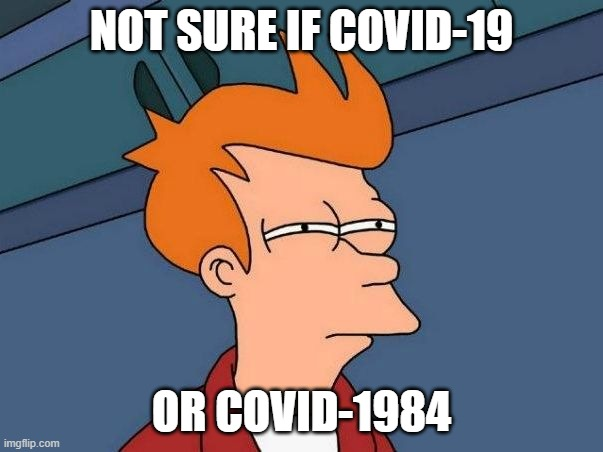Not Sure If COVID-19 Or COVID-1984 |  NOT SURE IF COVID-19; OR COVID-1984 | image tagged in not sure if- fry | made w/ Imgflip meme maker