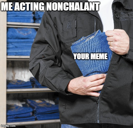 im stealing this |  ME ACTING NONCHALANT; YOUR MEME | image tagged in stealing memes,funny memes,stolen,my meme | made w/ Imgflip meme maker