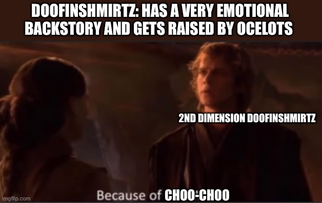 Because of Obi-Wan? |  DOOFINSHMIRTZ: HAS A VERY EMOTIONAL BACKSTORY AND GETS RAISED BY OCELOTS; 2ND DIMENSION DOOFINSHMIRTZ; CHOO-CHOO | image tagged in because of obi-wan | made w/ Imgflip meme maker