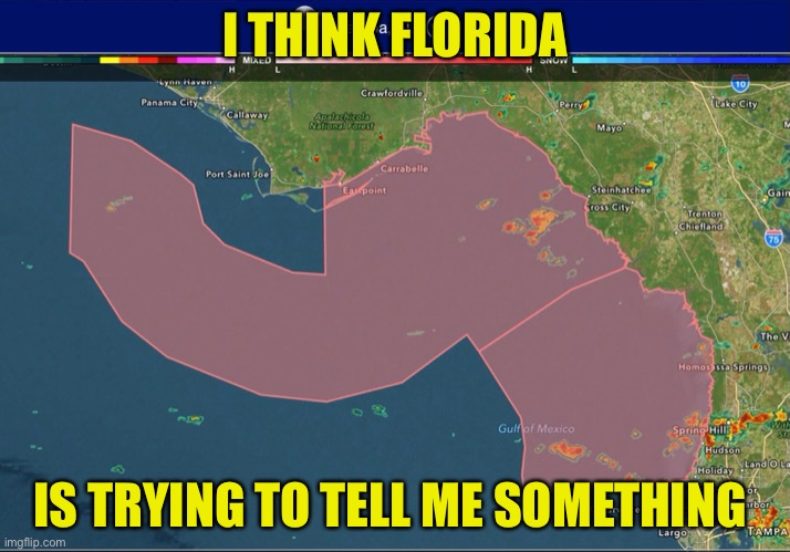 Florida woody |  I THINK FLORIDA; IS TRYING TO TELL ME SOMETHING | image tagged in florida,weather,map,woody,suggestive | made w/ Imgflip meme maker