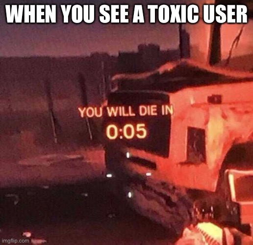 You will die in 0:05 |  WHEN YOU SEE A TOXIC USER | image tagged in you will die in 0 05 | made w/ Imgflip meme maker