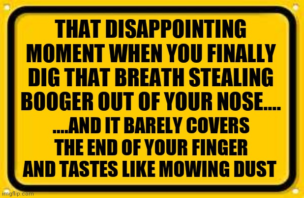 How disappointing..... |  THAT DISAPPOINTING MOMENT WHEN YOU FINALLY DIG THAT BREATH STEALING BOOGER OUT OF YOUR NOSE.... ....AND IT BARELY COVERS THE END OF YOUR FINGER AND TASTES LIKE MOWING DUST | image tagged in memes,original meme,grossed out,gross,original memes,boogers | made w/ Imgflip meme maker