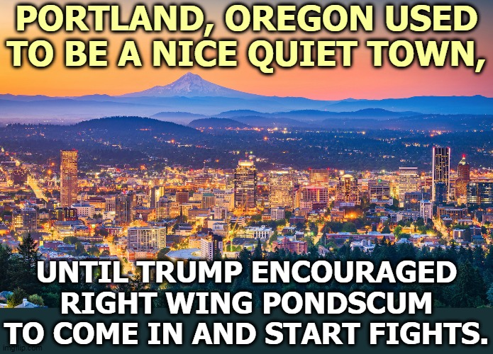 Same with Kenosha. Trump relishes the bloodshed, and he loves it at a safe distance, as long as his hide isn't on the line. |  PORTLAND, OREGON USED TO BE A NICE QUIET TOWN, UNTIL TRUMP ENCOURAGED RIGHT WING PONDSCUM TO COME IN AND START FIGHTS. | image tagged in trump,violence,fighting,right wing,hypocrisy | made w/ Imgflip meme maker