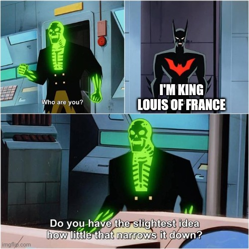 Do You Have the Slightest Idea How Little That Narrows It Down? |  I'M KING LOUIS OF FRANCE | image tagged in do you have the slightest idea how little that narrows it down | made w/ Imgflip meme maker