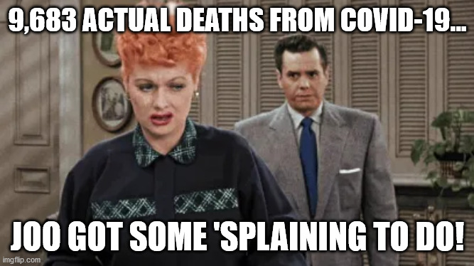 9,683 actual deaths from covid-19 |  9,683 ACTUAL DEATHS FROM COVID-19... JOO GOT SOME 'SPLAINING TO DO! | image tagged in covid-19,covid,cdc,plandemic,pandemic,coronavirus | made w/ Imgflip meme maker